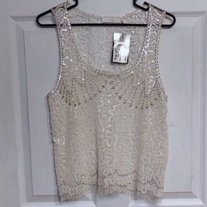 🖤 NWT LUSH Tank 🖤 Sequin Lace Overlay White Top